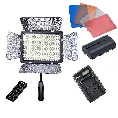 Kit de LED Yongnuo YN300 II + Bateria NP-F550 + Cargador