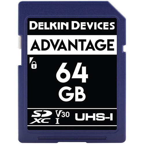 Memoria SD Delkin Devices 64 GB ADVANTAGE UHS-I SDXC, V30, U3, Class 10, 90 MB/s