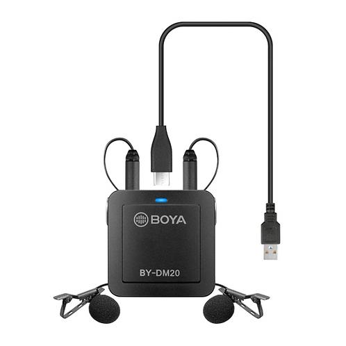 Sistema doble de micrófonos corbateros Boya BY-DM20, para Android, iOS, PC