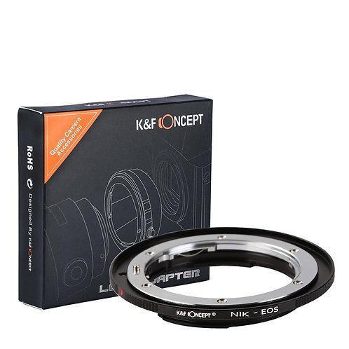 Adaptador manual K&F Concept NIK-EOS, lentes Nikon F en cámaras Canon EF EOS