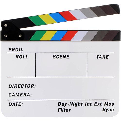 Claqueta Pizarra de cine y video, 30 x 24.5 cm.