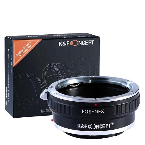 Adaptador manual K&F Concept EOS-NEX, lentes Canon EF EOS en cámara Sony E