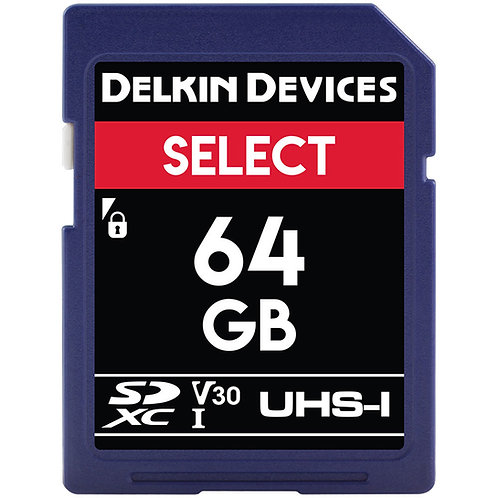 Memoria SD Delkin Devices 64 GB SELECT UHS-I SDXC, V30, U3, Class 10, 100 MB/s