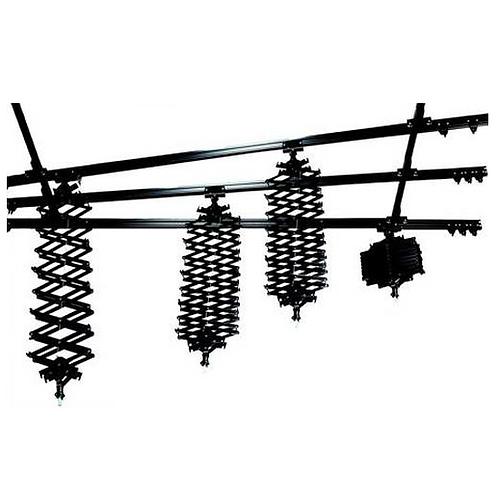 Sistema rieles de techo de 4 pantografos de 10kg, y 5 rieles de 3 metros