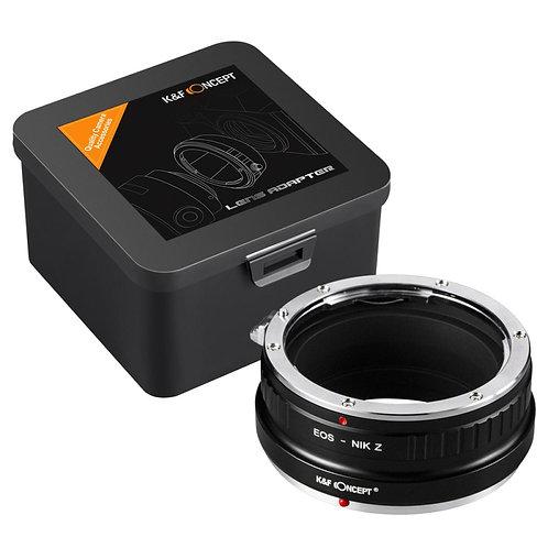 Adaptador manual K&F EOS-NIK Z, lentes Canon EF EOS en cámaras Nikon Z