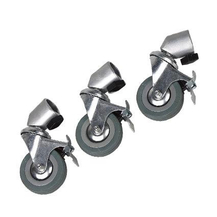 """Juego de 3 ruedas de 3"""", para pedestales con pie de 25mm."""