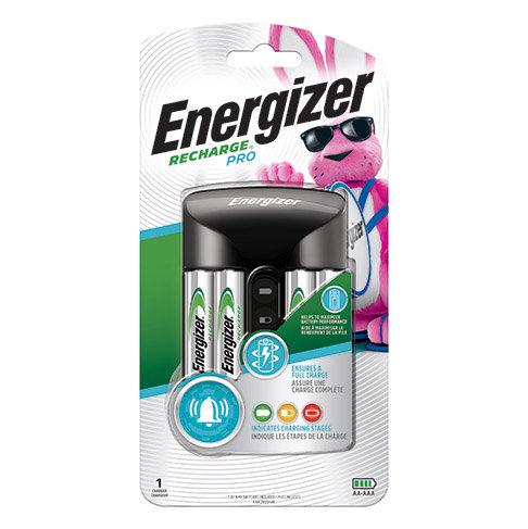 Cargador Energizer Recharge Pro para 4 pilas AA o AAA, NiMh + 2xAA, 2xAAA