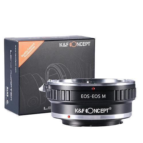 Adaptador manual K&F Concept EOS-EOS M, lentes Canon EF EOS en cámaras EF EOS M