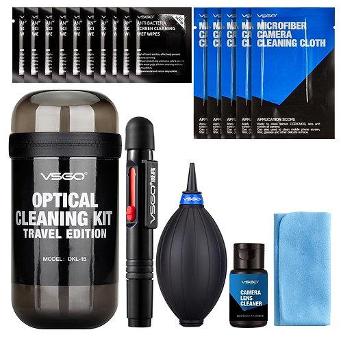 Kit de limpieza de lentes de 19 piezas, para viajes, VSGO DKL-15G