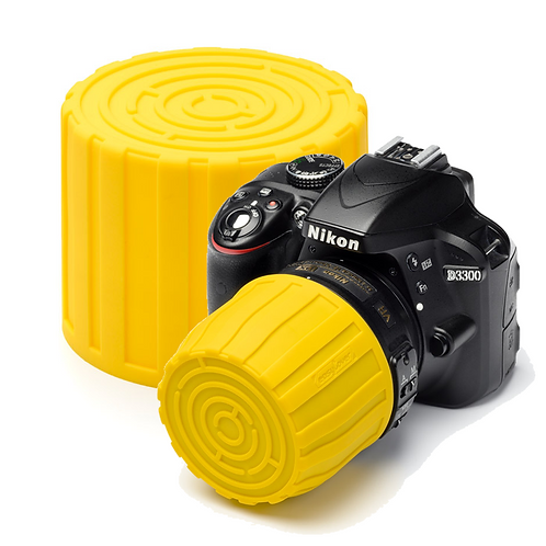 Tapa easyCover Lens Maze AMARILLO, para diámetros de 52 a 77mm