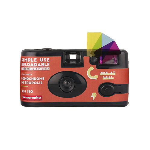 Camara Simple Use con flash + rollo color Lomochrome Metropolis ISO 400, 27 exp.