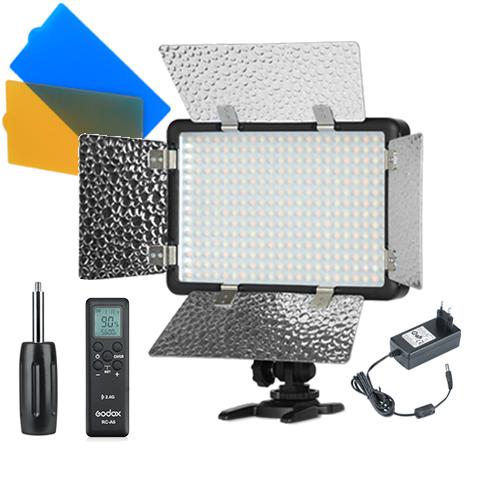 Luz continua LED + Flash Godox LF308D Blanco + Adaptador AC