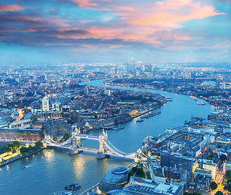 London at night. Aerial view of Tower Br
