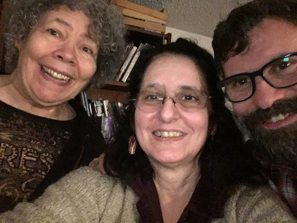 Marilyn Harris, Sue and Pat Kelly jam in Tuscon, checking out the new songs, February, 2019.