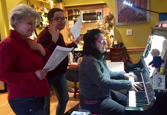 """Janis Siegel and Lauren Kinhan rehearse """"Valentine's Day For One"""" with Sue"""