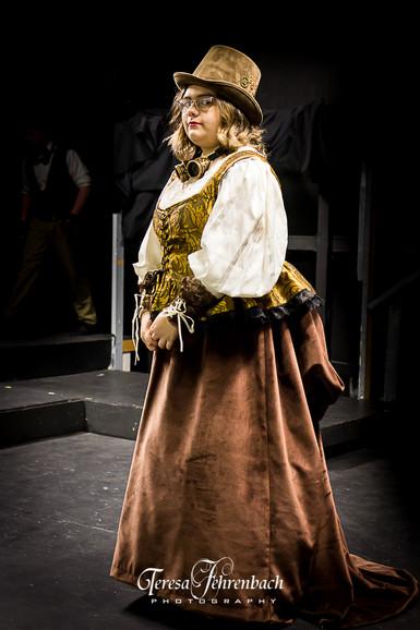 Velvet skirt and gold brocade corset