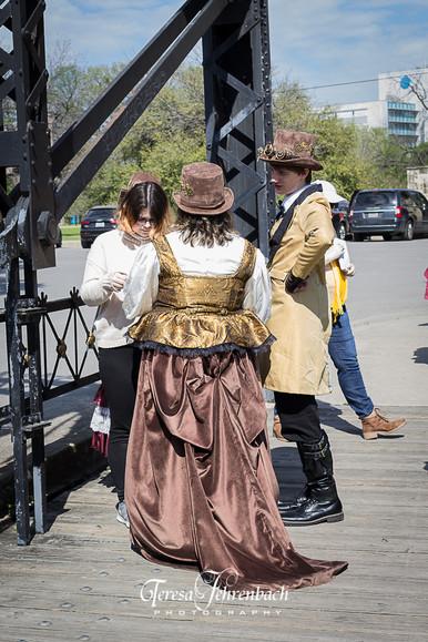 Velvet skirt and gold/black brocade corset