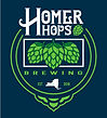 Homer Hops Brewing logo with three neon hops
