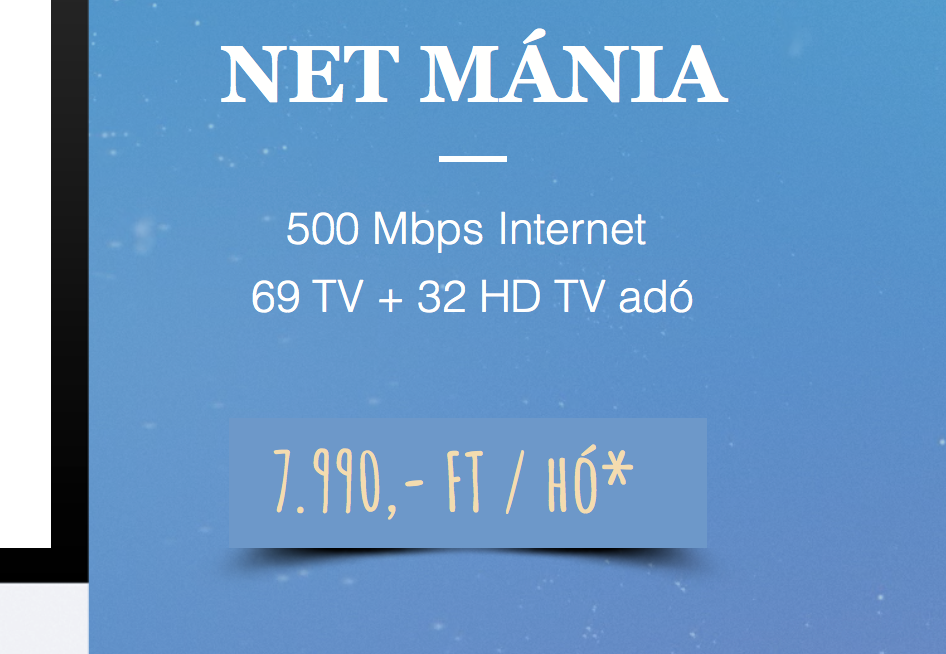 NET MÁNIA - 67+27 HD + 500 Mbps