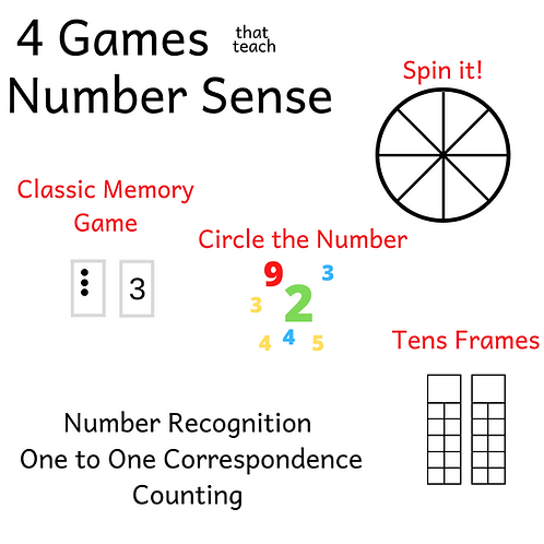 4 Number Sense Games BUNDLE - Memory, Ten Frames, Spinner, Circle the Number