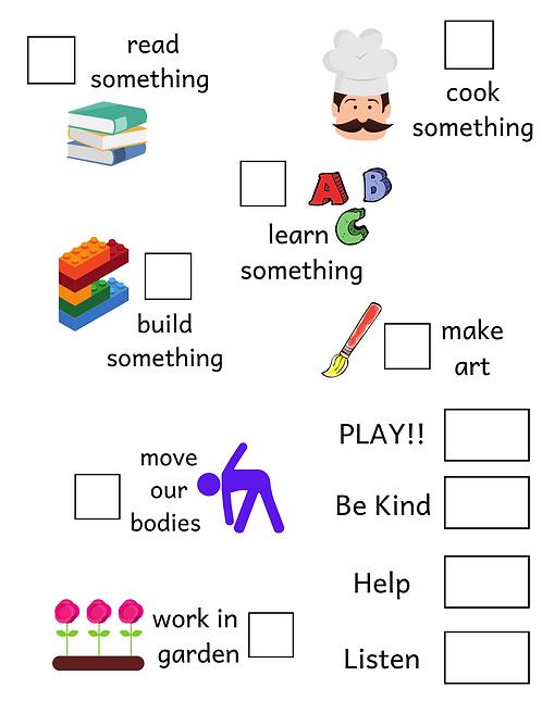 Preschool at Home - Daily Goals