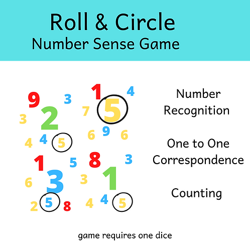 Roll & Circle Game - Number Recognition