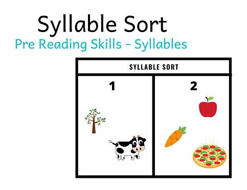 Pre Reading Skills - Syllable Sort