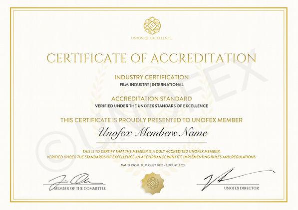 UNOFEX Film Industry Certification