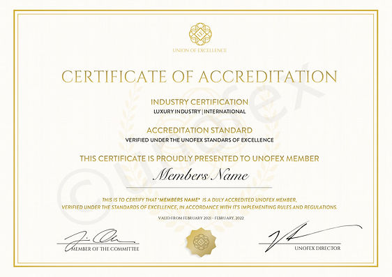UNOFEX Luxury Membership - Club Certific