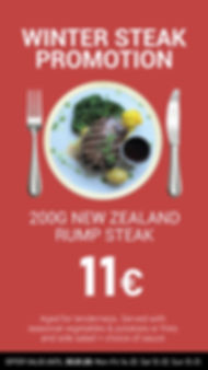 Winter New Zealand Rump Steak Offer with Salad and Fries or Vegetables