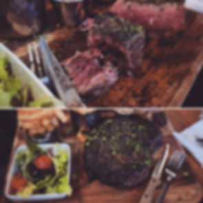 Steak House Specialty- Ribeye and Rump Steak. Served with side salad and fries or vegetables