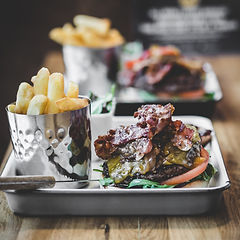 Hand Made Angus Beef Burger with Bacon Fries and Side Salad