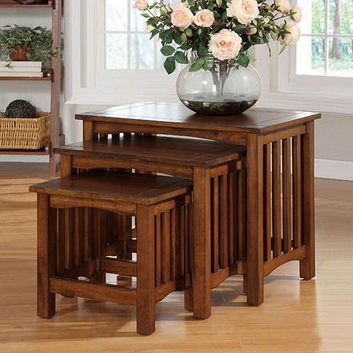 Wonderful Add Function And Style To Your Room With This Mission Style Antique Oak  Finish Nesting Tables
