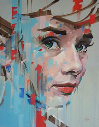Contempory ainting of the iconic Audrey Hepburn, oil on canvas by David Thorpe