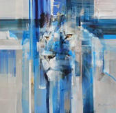 Exquisite, masterfully executed male Lion painting in shades of blue, on white canvas, by Everett Duarte
