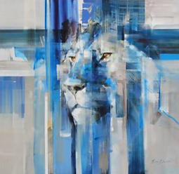 FRAGMENTS:  Exquisite, masterfully executed male Lion painting in shades of blue, on white canvas, by Everett Duarte