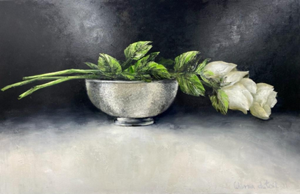 White Roses in Pewter Bowl, by Wilma du Toit