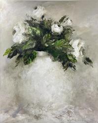 White Roses Still Life by Wilma du Toit