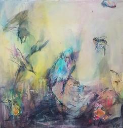 Abstract Blue Stork by Marlo Hamman