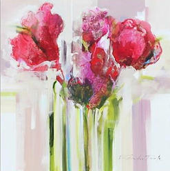 SPRING:  Large, Contemporary Painting of Red Roses on White Canvas by Frances Duarte