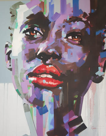 Painting of sad beautiful.black lady with tears in her eyes, by renowned artist David Thorpe
