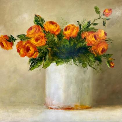 Orange Roses in Clay Pot
