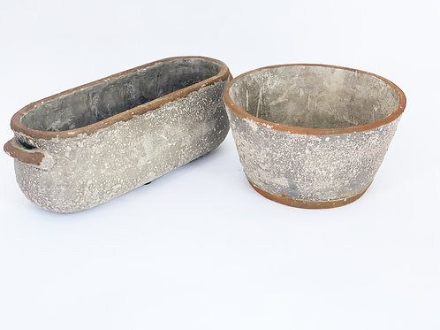 Rustic Concrete with Terra-cotta Edge- Round or Oblong Planter