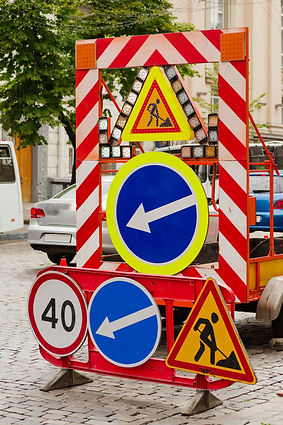 Road signs for road marking when repairi