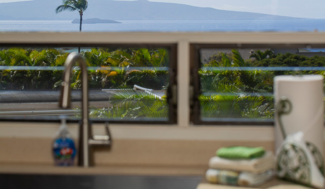 Ocean view from kitchen at Wailea Ekolu #7