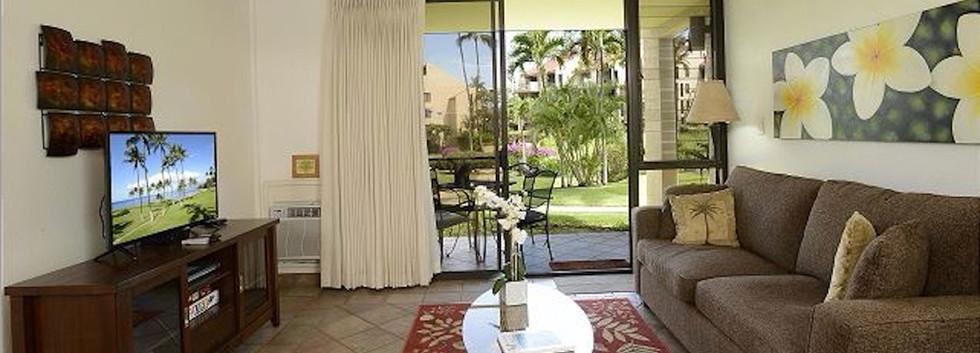 Kamaole Sands #7 Living room to lanai
