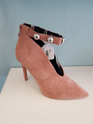 PINK  SUEDE HIGH HEEL WITH STUDDED ANKLE STRAP