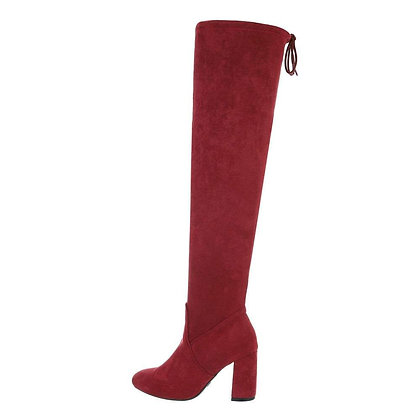 WINE OVER THE KNEE SUEDE BOOT