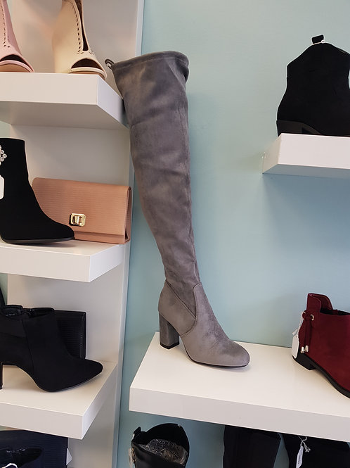G-343 GREY OVER THE KNEE SUEDE BOOT
