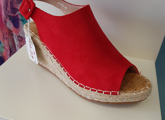 RED OPEN TOE HIGH ESPADRILLE WEDGE